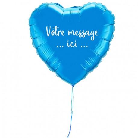 Ballon coeur personnalisé bleu