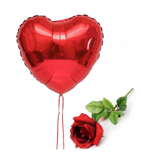 Ballon coeur rouge et Rose